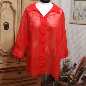 WHITE STAG Red sheer Blouse B29